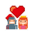 game warrior and princess pixelated icon vector image vector image
