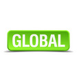 global green 3d realistic square isolated button vector image vector image