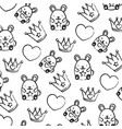 grunge metal crown with heart and mice background vector image