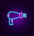 hairdryer neon sign vector image