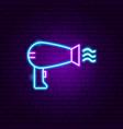 hairdryer neon sign vector image vector image