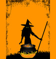 halloween background with witch and cauldron vector image vector image