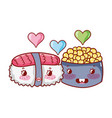 kawaii sushi and caviar love food japanese cartoon vector image