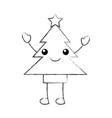 kawaii tree pine star decoration cartoon vector image vector image