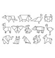line origami animals abstract polygon animals vector image