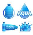 mineral water logo set cartoon style