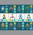 modern humanoid robots with multifunctional system vector image