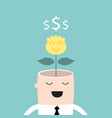 money tree growing from businessman head profit vector image