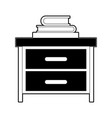 nightstand with stack books black color section vector image vector image