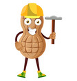 peanut working with hammer on white background vector image