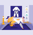 people in martials arts dojo scene vector image