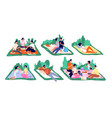 picnic on nature family vacation picnics spring vector image vector image