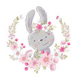 postcard poster cute little bunny in a wreath of vector image vector image
