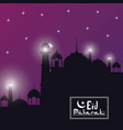purple color starry background black silhouette vector image