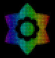 rainbow colored dotted flower icon vector image