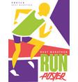 run best marathon colorful poster template vector image