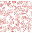 seamless pattern of oak leaves and acorns autumn vector image vector image