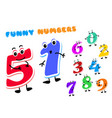 set funny cartoon numbers characters kids vector image