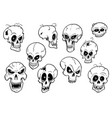 set of cute hand drawing halloween skull vector image