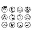 silhouette chinese new year zodiac animals vector image