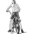 sketch a teen boy biking on a summer day vector image