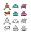 sketch and colorful winter hat set vector image vector image
