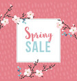 spring sale poster with blossoming cherry tree vector image vector image