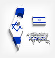 state of israel 3d flag and map vector image vector image