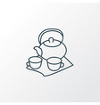 tea set icon line symbol premium quality isolated vector image