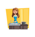 washing dishes cartoon icon with woman housewife vector image vector image