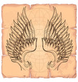 wings on the background of old paper design vector image