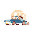 young handsome man with dog go on trip car vector image