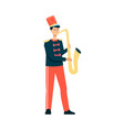 young man in festive parade costume playing music vector image vector image