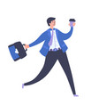 young smiling businessman carrying briefcase vector image vector image