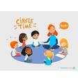 Kids listen and talk to friendly preschool teacher vector image