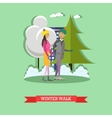 young couple walking in the vector image
