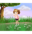 A cute little girl walking in the street vector image vector image