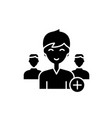 add new user black icon sign on isolated vector image