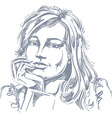 art drawing of pensive romantic woman with stylish vector image vector image