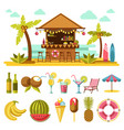 beach entertainments and set of elements below on vector image vector image