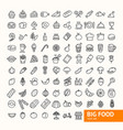 big food black thin line icon set vector image vector image