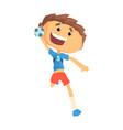 boy handball player character cartoon vector image