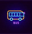 bus neon label vector image