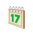 Calendar with St Patricks Day date cartoon icon vector image vector image