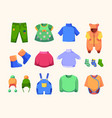 casual clothes for kids little dress boots vector image