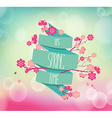 cherry blossoms and vintage ribbon vector image