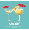 cocktail pineapple and martini with umbrella vector image