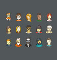 color avatars styleicons set vector image