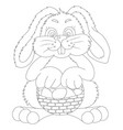 contour easter bunny with bast basket vector image vector image