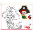 cute cartoon boy in pirate costume and huge hat vector image vector image